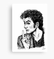 "The Doctor - David Tennant - ""Fingers on Lips!"" Canvas Print"
