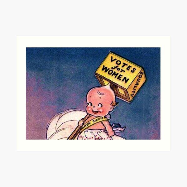 Kewpie Votes For Women Suffrage Art In Blue Art Print