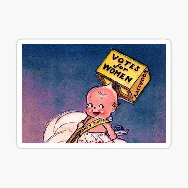 Kewpie Votes For Women Suffrage Art In Blue Sticker