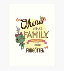 Ohana - Lilo and Stitch Quote Art Print