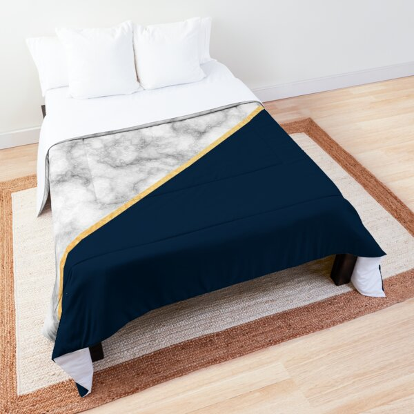 Classic Marble, Navy Blue, and Gold Stripe Comforter