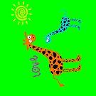 colorful Giraffe family w/ love (sticker & iPhone/iPod case) by keyweegirlie