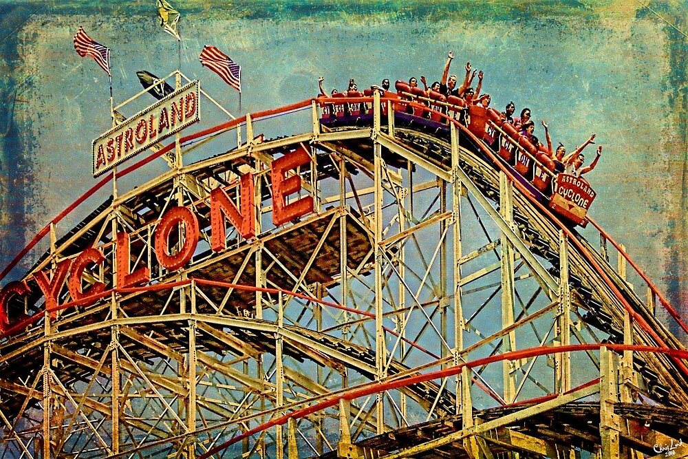 Riding The Famous Cyclone Roller Coaster by Chris Lord