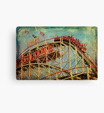 Riding The Famous Cyclone Roller Coaster Canvas Print