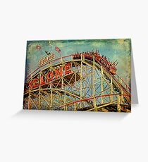 Riding The Famous Cyclone Roller Coaster Greeting Card