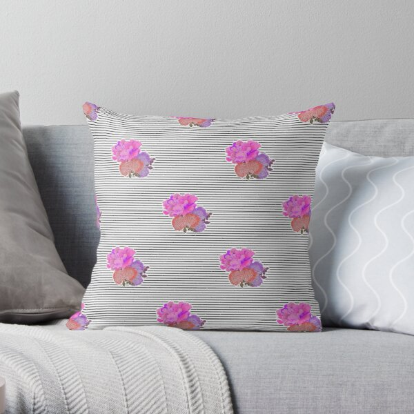 Stripes with Flower Detail Pattern Throw Pillow