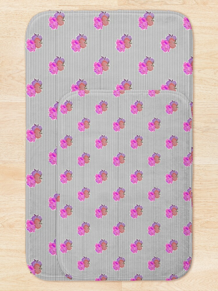 Alternate view of Stripes with Flower Detail Pattern Bath Mat