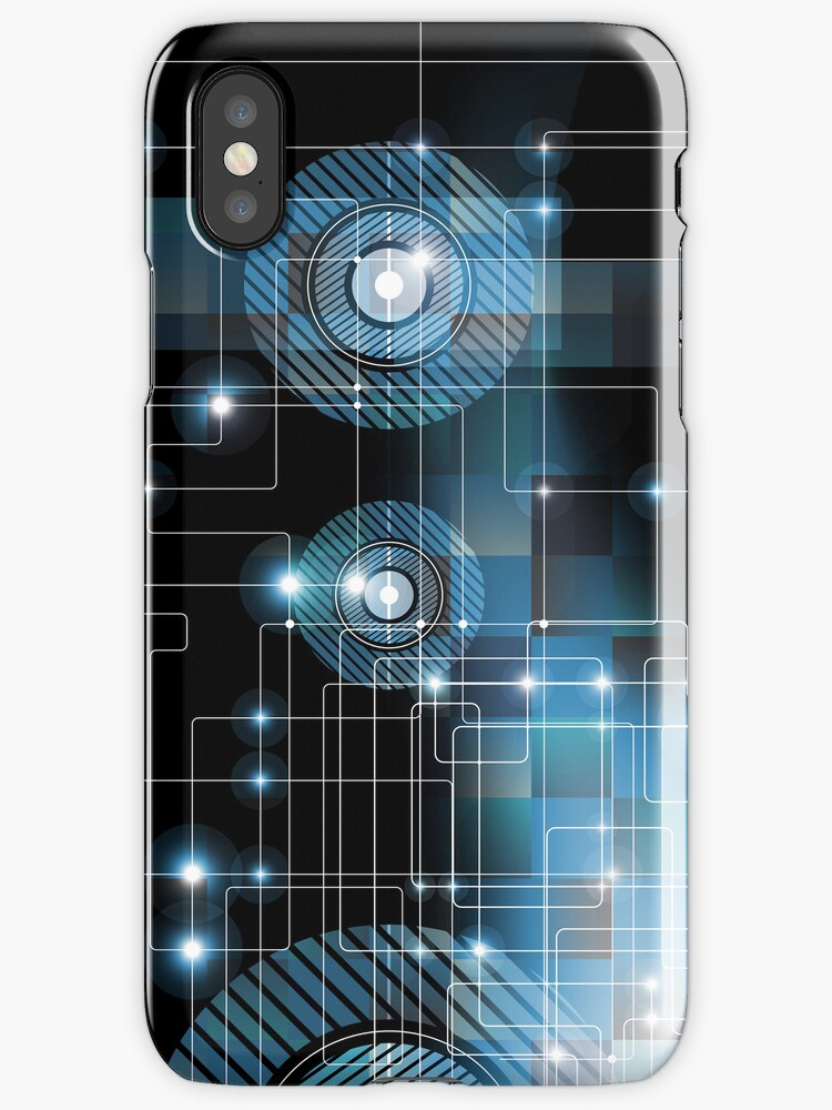 Black And Blue Geometric Squares Lines And Circles Design by artonwear