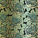 Black Gold And Blue Tones Seamless Abstract Roses Pattern by artonwear