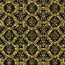 Black And Gold Tones Seamless Abstract Ornate Baroque Pattern by artonwear
