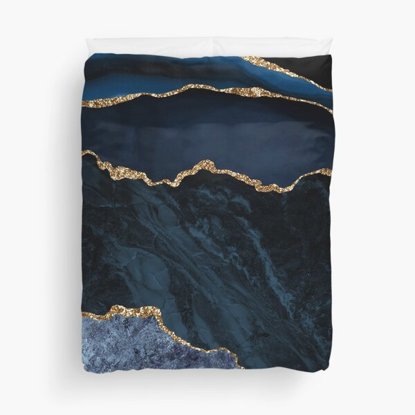 Blue and Gold Agate  Duvet Cover