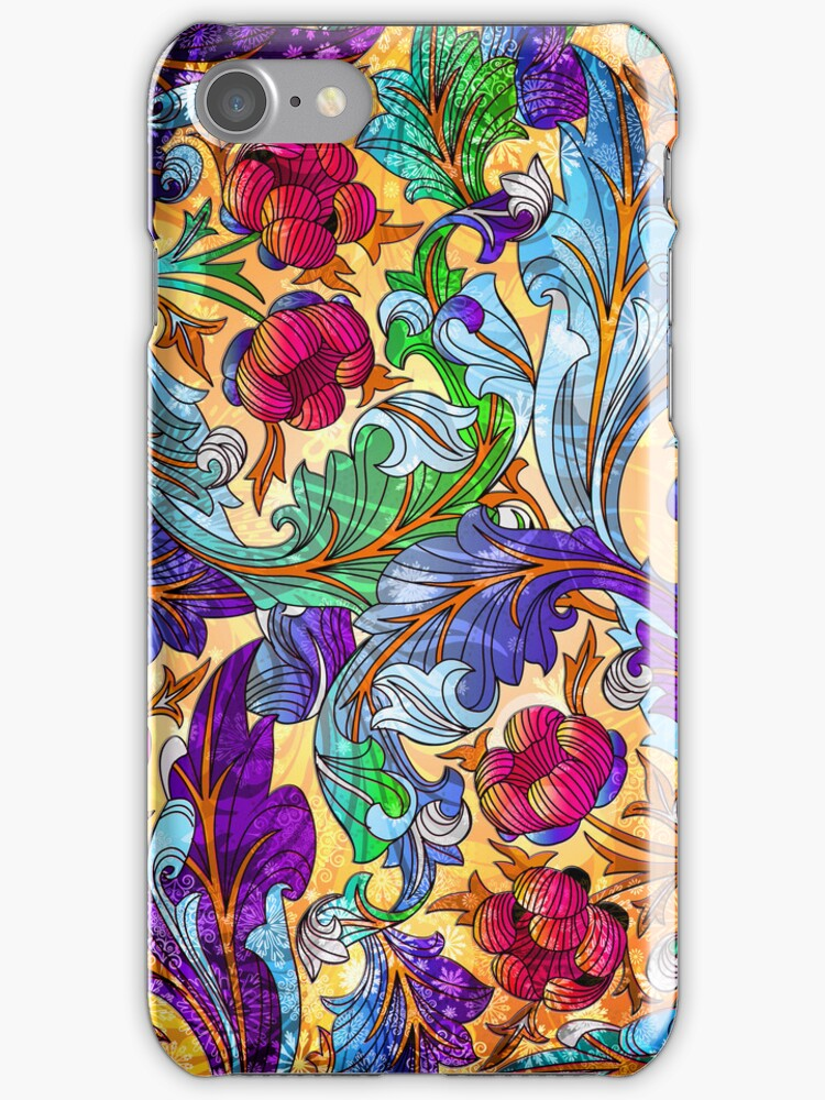 Colorful Elegant Retro Floral Design by artonwear