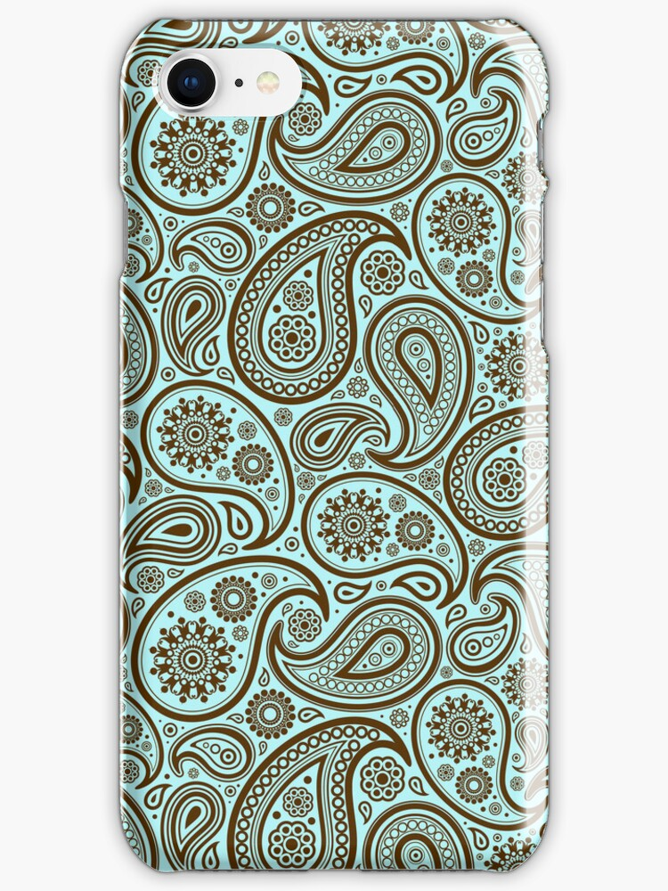 Brown And Blue Ornate Vintage Paisley Design by artonwear