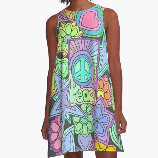 Pretty Hippy Trippy Flower Power Retro Design A-Line Dress