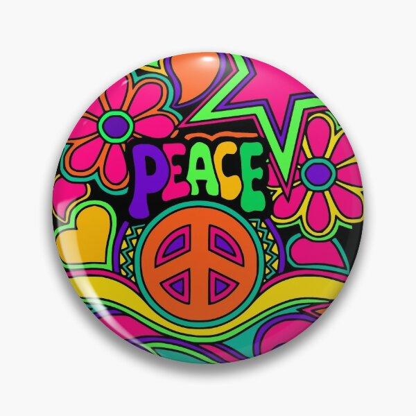 Pretty Pink n Colorful Hippy Trippy Design Pin