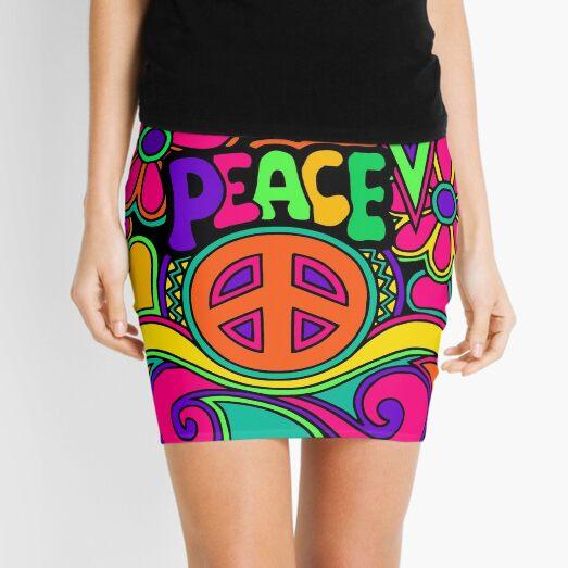 Pretty Pink n Colorful Hippy Trippy Design Mini Skirt