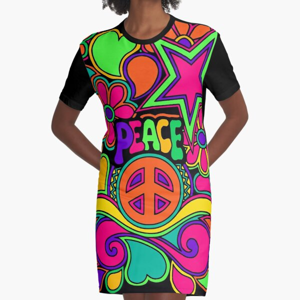 Pretty Pink n Colorful Hippy Trippy Design Graphic T-Shirt Dress