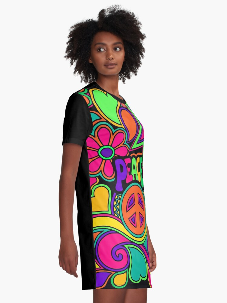 Alternate view of Pretty Pink n Colorful Hippy Trippy Design Graphic T-Shirt Dress