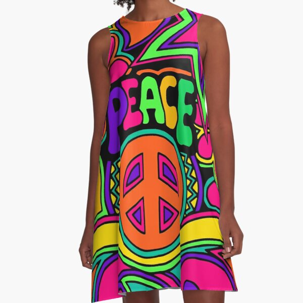 Pretty Pink n Colorful Hippy Trippy Design A-Line Dress