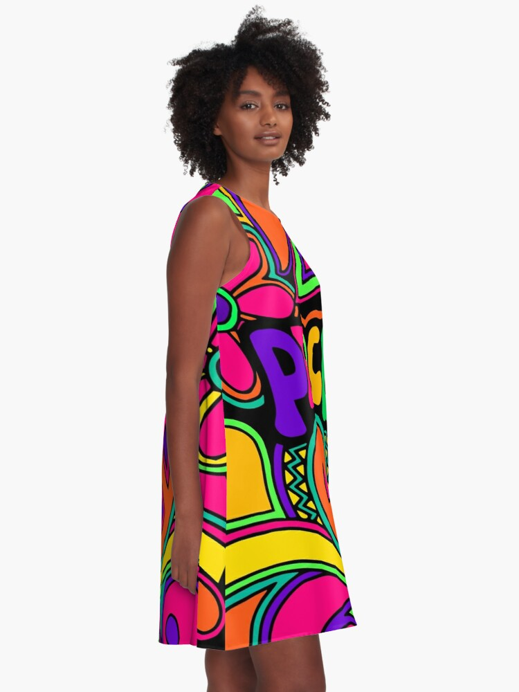 Alternate view of Pretty Pink n Colorful Hippy Trippy Design A-Line Dress