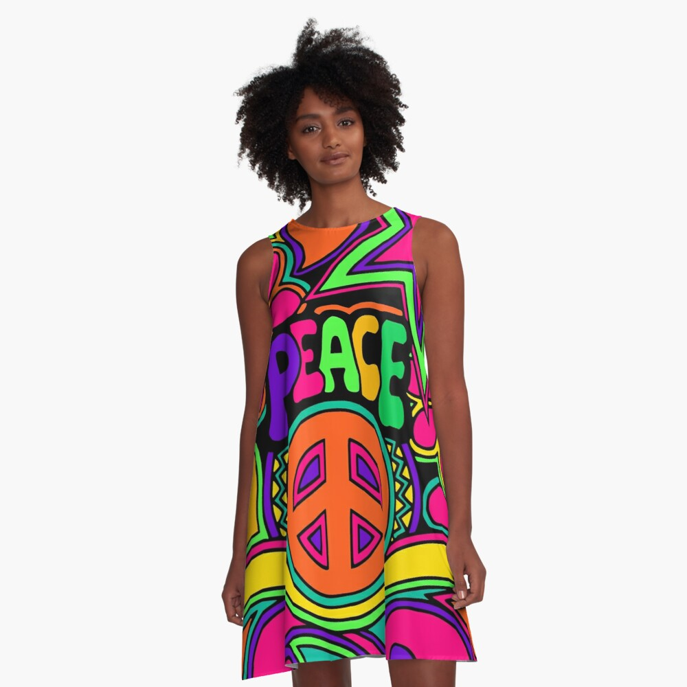 Pretty Pink n Colorful Hippy Trippy Design A-Line Dress