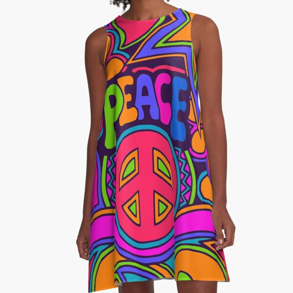 Fun and Funky Flower Power Peace and Love Hippy Art A-Line Dress