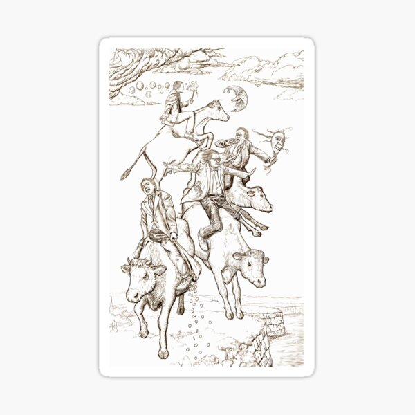 The Four Mad Cowboys of the Apocalypse Sticker