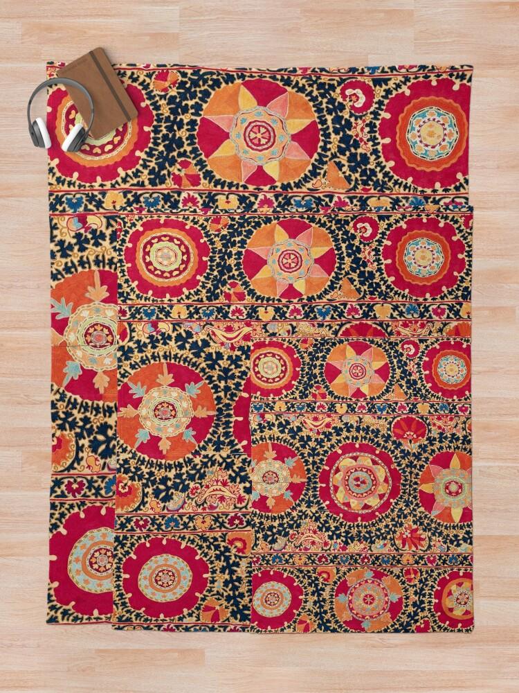 Alternate view of Kermina Suzani Uzbekistan Floral Embroidery Print Throw Blanket