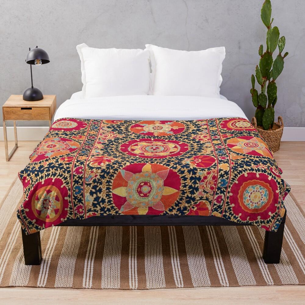 Kermina Suzani Uzbekistan Floral Embroidery Print Throw Blanket