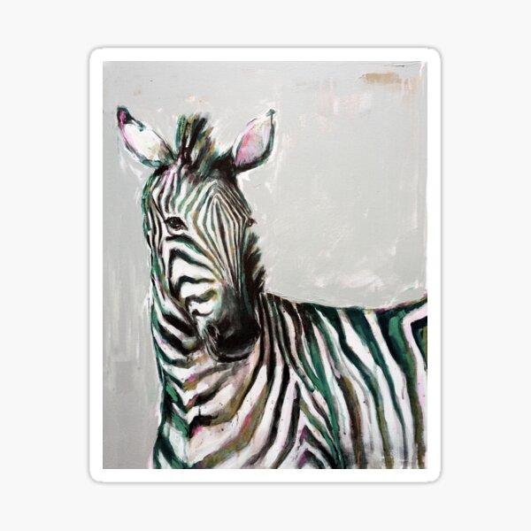Painted Zebra Portrait in Pastel Colour Sticker