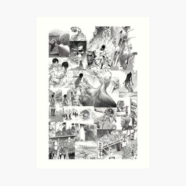 Attaque sur Titan Manga Collage Impression artistique