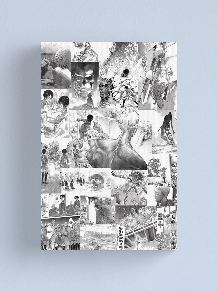 Attack On Titan Manga Collage Canvas Print By Animecollages Redbubble