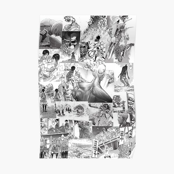 Attack On Titan Manga Collage Poster By Animecollages Redbubble