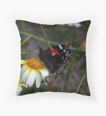 Red Admiral On Duty Throw Pillow