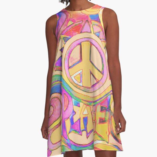 Pastel Hippy Trippy Peace Art A-Line Dress