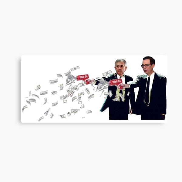 Jerome Powell and Steve Mnuchin Printing Money Pulp Fiction Style Canvas Print