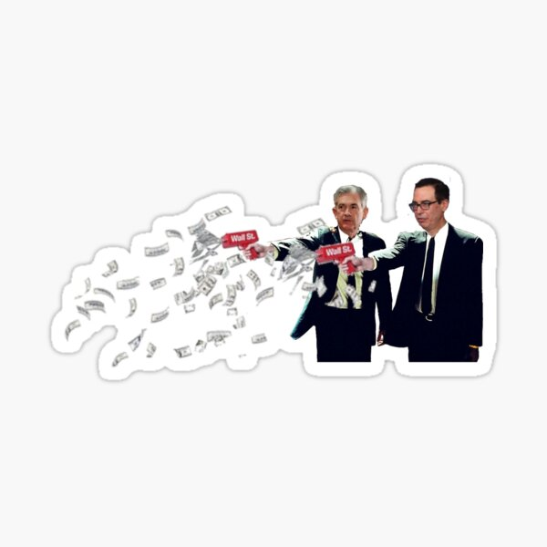Jerome Powell and Steve Mnuchin Printing Money Pulp Fiction Style Sticker