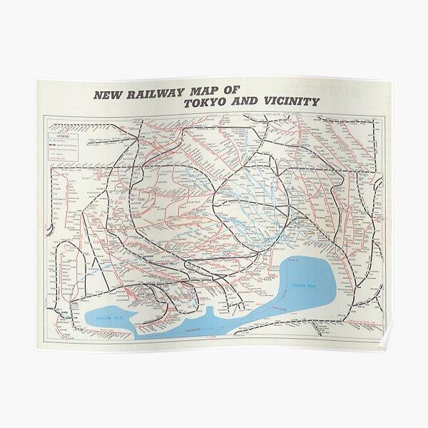 Tokyo Railway Map  Poster