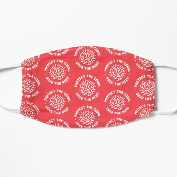 Protect the Coral, Save the Reef. Red Icon.  Flat Mask
