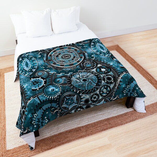 Blue Gear Wall Comforter