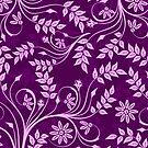 Purple And Pink Retro Floral Swirls Design by artonwear