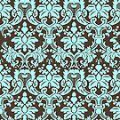 Blue And Brown Elegant Vintage Ornate Damasks Pattern by artonwear