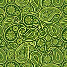 Green And Yellow Vintage Elegant Ornate Paisley Seamless Pattern Design by artonwear