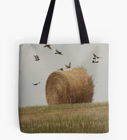Hairy Hay Bale and Birds Tote Bag