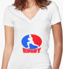 rugby player running ball Women's Fitted V-Neck T-Shirt