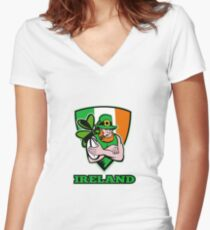 Irish leprechaun rugby player Women's Fitted V-Neck T-Shirt
