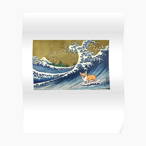 Corgi dog surfing The Great Wave  Poster