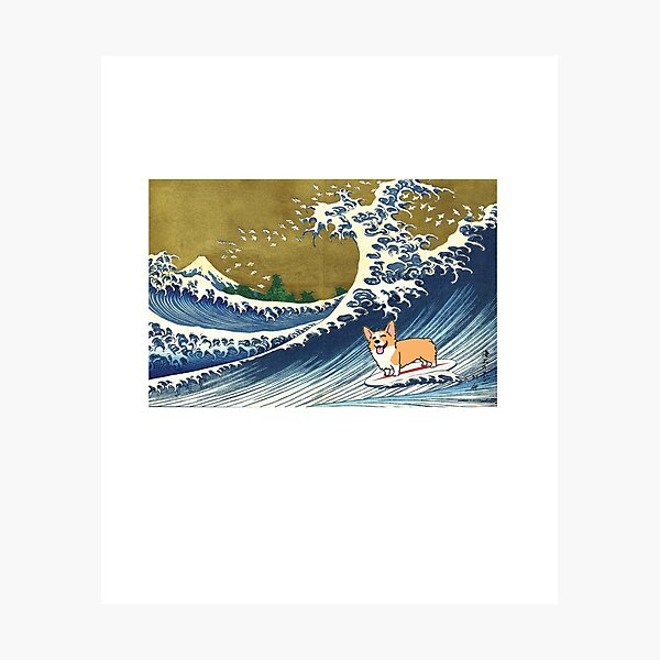 Corgi dog surfing The Great Wave  Photographic Print