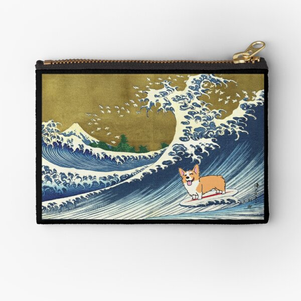 Corgi dog surfing The Great Wave  Zipper Pouch