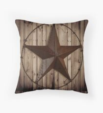 vintage western country barn wood grunge texas star  Throw Pillow